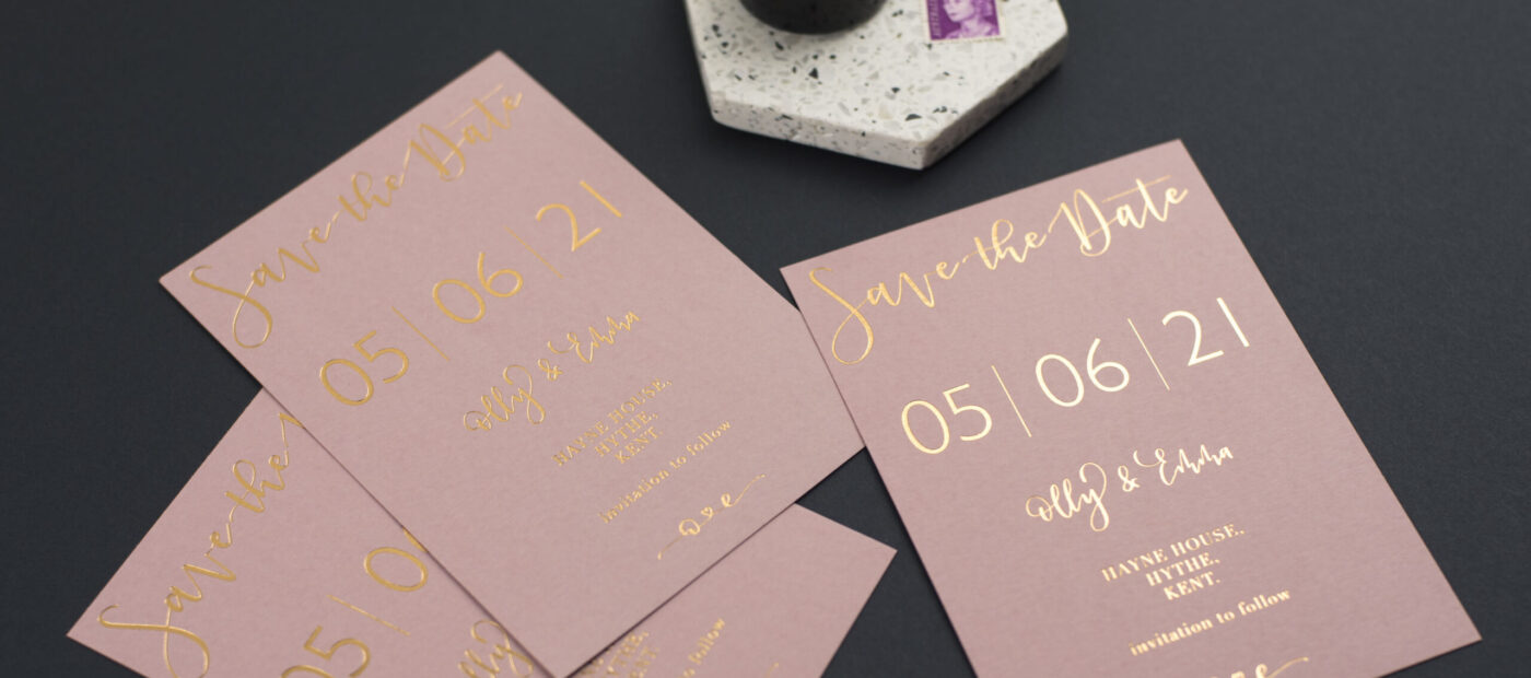 hot foil wedding stationery