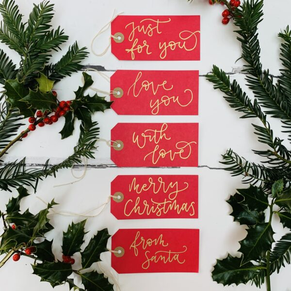 christmas calligraphy gift tags