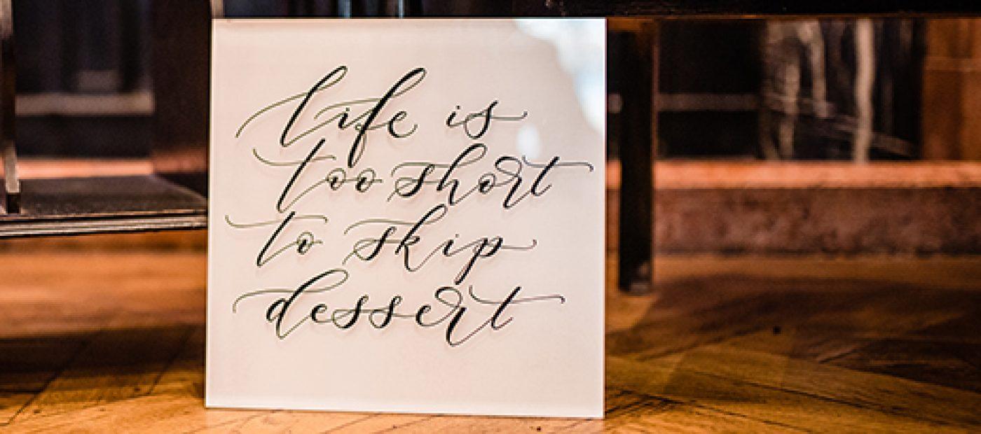 acrylic cake sign wedding