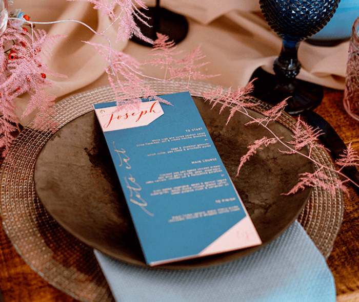 foiled wedding menu on the day stationery